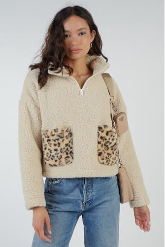 Teddy Leopard Pocket Pullover TAN