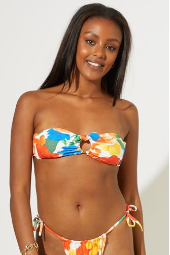 Abstract Floral Ring Bandeau Bikini Top WHITE MULTI -