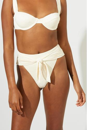 Eyelet Riviera Tie Hi Waist Bikini Bottom WHITE