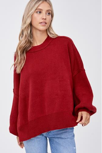 Oversized Solid Tunic RED