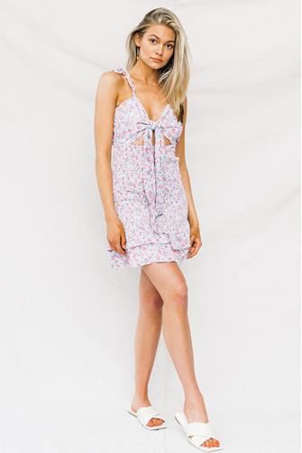 Rocky Floral Smocked Mini Dress PURPLE MULTI -