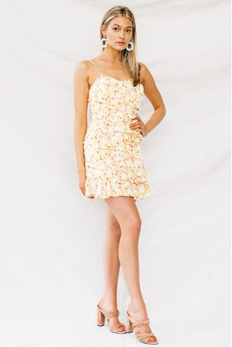 Bellini Floral Ruched Mini Dress YELLOW MULTI -