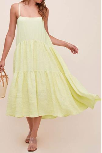 Lemonade Ursa Tiered Midi Dress YELLOW