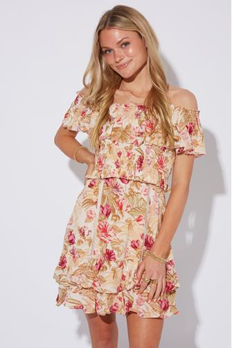 Riviera Tropical Floral Off Shoulder Dress PINK MULTI -