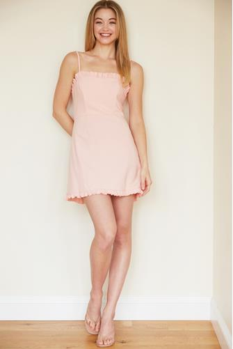 True Blossom Whisper Frill Sweetheart Dress PINK