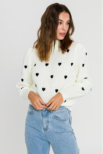 Heart Embroidered Sweater WHITE