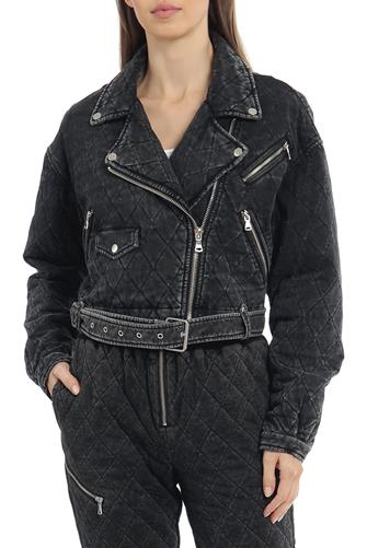 Quilted French Terry Moto Jacket CHARCOAL