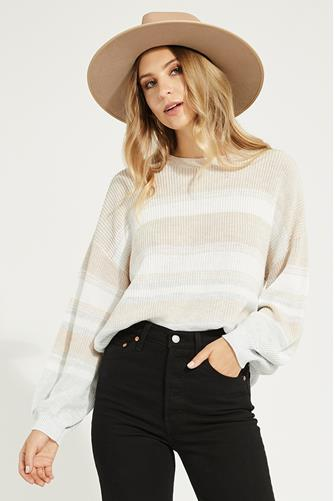 Fonda Striped Sweater OATMEAL