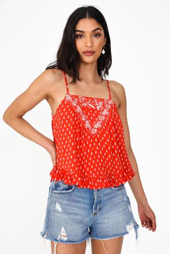 Red Ruffle Spaghetti Strap Top RED