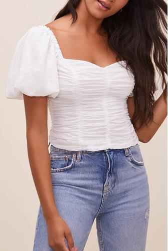 White Tenley Puff Sleeve Top WHITE