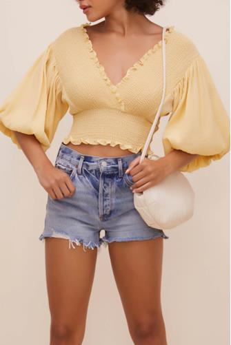 Ginny Smocked Bubble Sleeve Top YELLOW