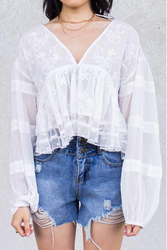 Embroidered Peplum Top WHITE