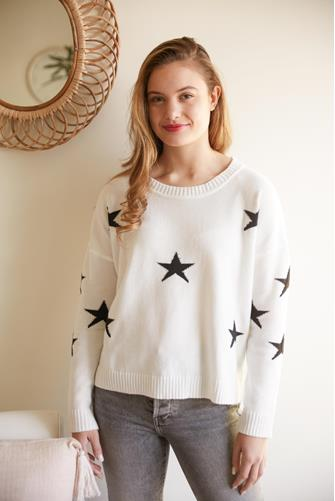 Ivory Star Print Pullover IVORY