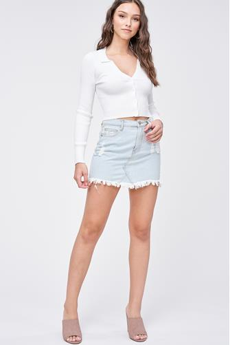 Button Front Pullover WHITE