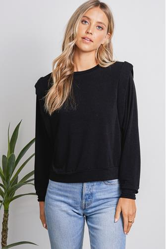 Padded Shoulder Sweatshirt BLACK
