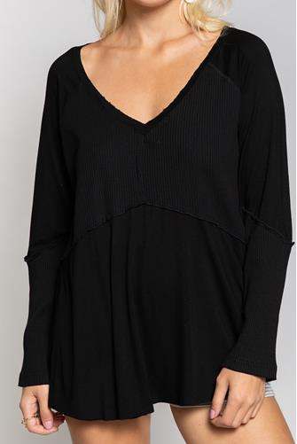 Hi-Lo Mixed Rib Tunic BLACK