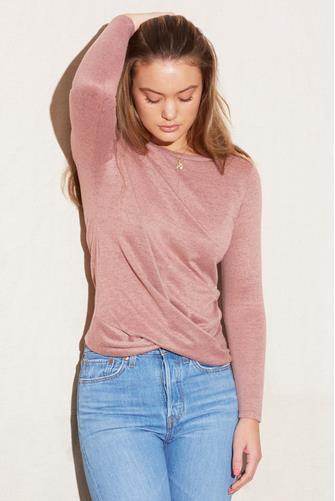Hacci Twist Front Long Sleeve Top PINK