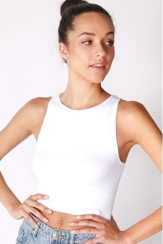 Solid High Neck Crop Top WHITE