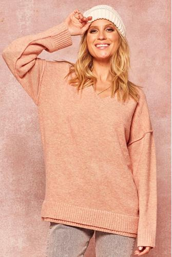 V-Neck Exposed Seam Tunic PINK