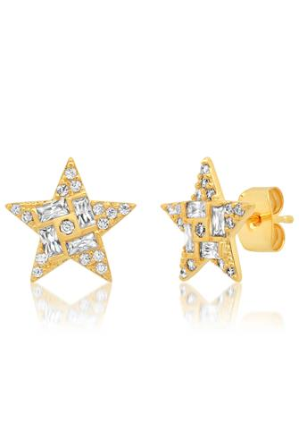Gold Pave Star Stud Earrings GOLD