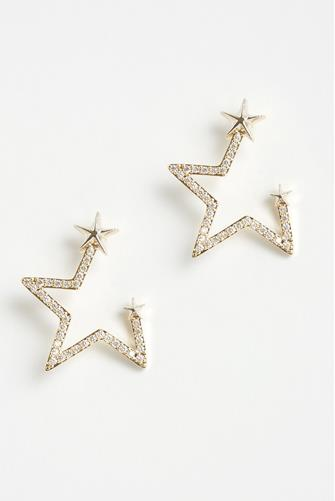 Cubic Zirconia Open Star Earrings GOLD
