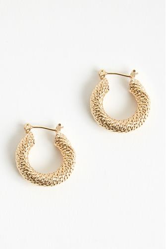 Gold Twisted Rope Small Hoop Earrings GOLD