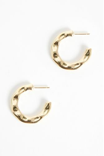 Gold Organic Metal Hoop Earrings GOLD