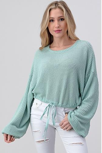 Open Knit Drawstring Pullover MINT GREEN