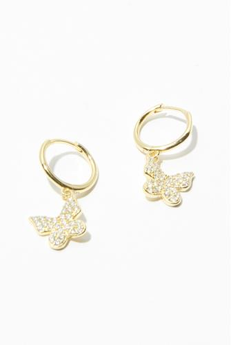 Gold Pave Butterfly Huggie Earrings GOLD