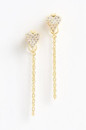 Mini Pave Heart Chain Earrings GOLD