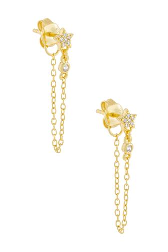 Cubic Zirconia Star Chain Drop Earrings GOLD