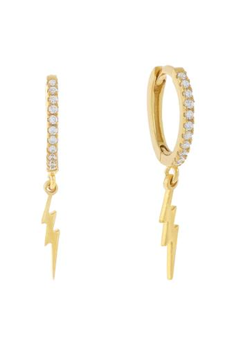 Cubic Zirconia Lightning Bolt Huggie Earrings GOLD