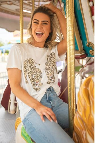 Dancing Leopards Thomas Graphic Tee IVORY