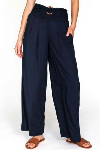 Solid Belted Wide Leg Pull-On Pant NAVY