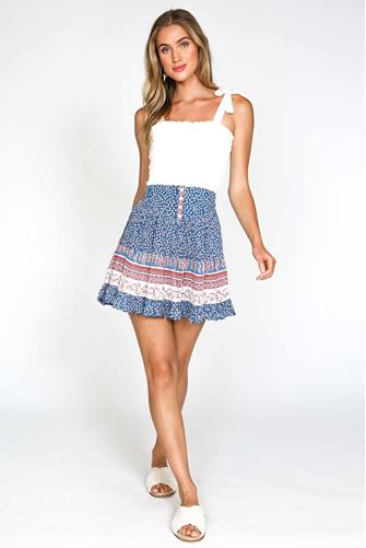 Mixed Print Ruffle Mini Skirt BLUE MULTI -
