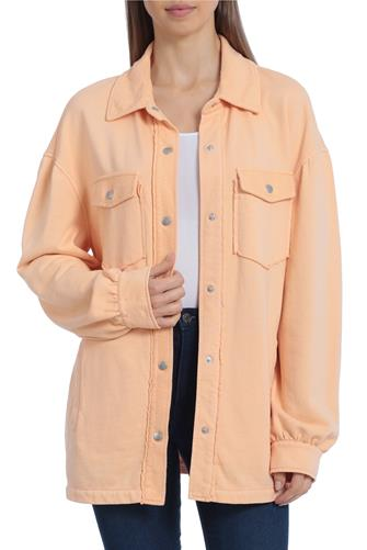 Orange Garment Dyed French Terry Shacket ORANGE