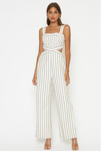 Esmeralda Stripe Jumpsuit WHITE MULTI -