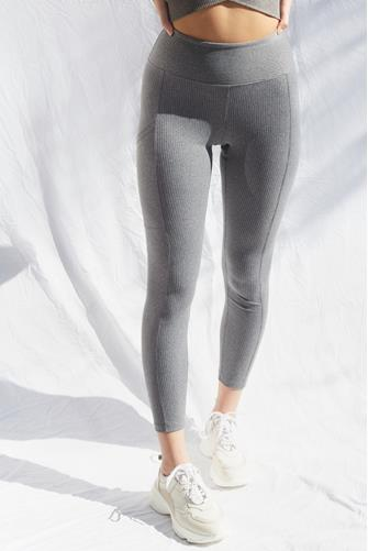 Heather Grey Walker Ribbed Leggings GREY