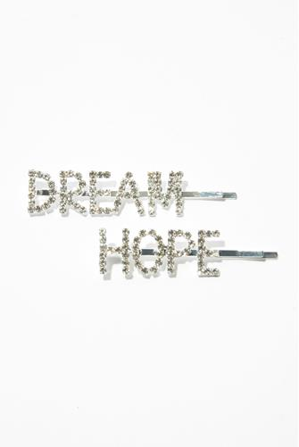 Hope & Dream Bedazzled Hair Pin Two Pack SILVER