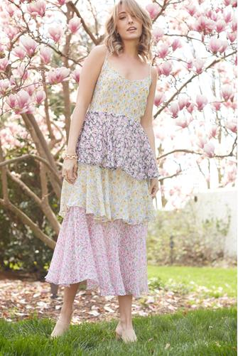 Mixed Floral Tiered Dress MULTI