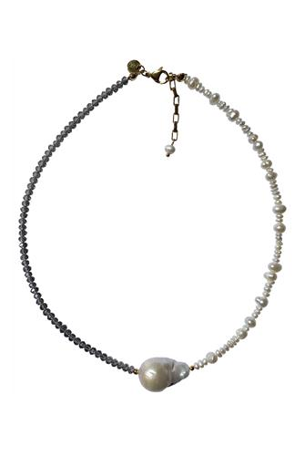Haya Half Mix Choker Necklace GREY MULTI -