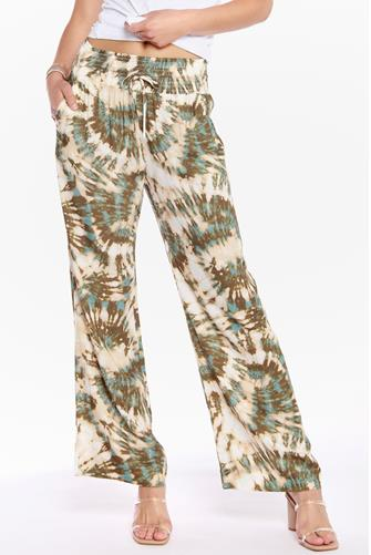 Tie Dye Burst Wide Leg Pant GREEN MULTI -