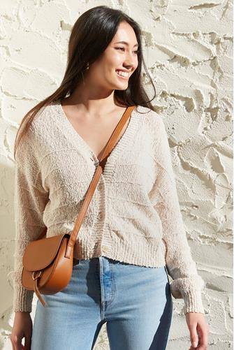 Button Front Cardigan TAN