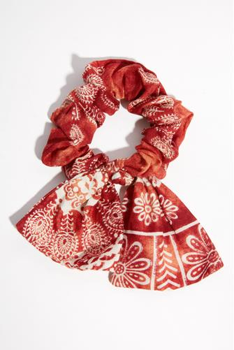 Red Paisley Bow Scrunchie RED