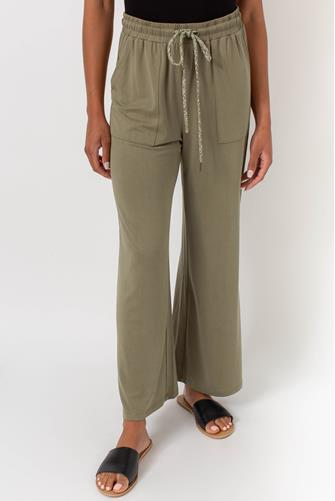 Solid Cupro Wide Leg Pant OLIVE