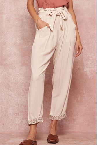 Linen Paperbag Tapered Pant OATMEAL