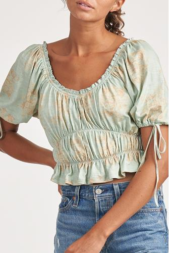 Ruched Floral Puff Sleeve Crop Top GREEN