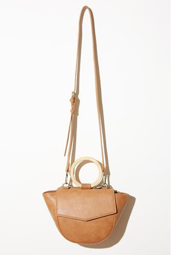 Wooden Handle Crossbody Bag TAUPE