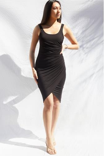 Knit Ruched Dress BLACK
