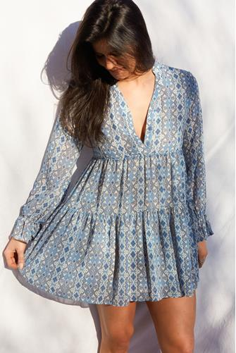 Tiered Aztec Print Dress BLUE